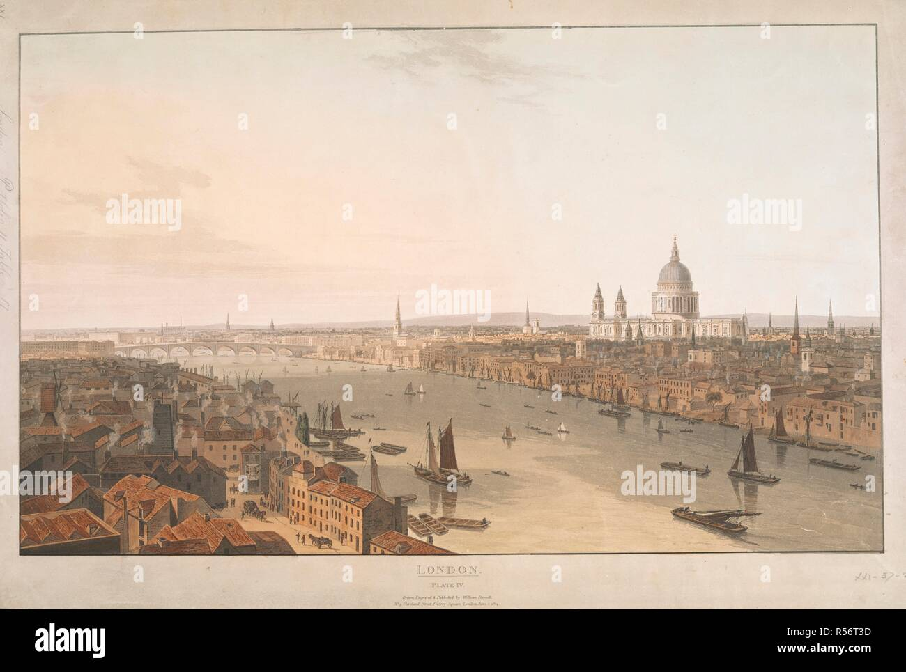 London / Plate IV. View westwards from the south bank along the Thames with St Paul's upper right. . Six Views of London, by Wm. Daniell, 1804,5. [London] : No. 9 Cleveland Street, Fitzroy Square, London, June 1 1804. Source: Maps K.Top.21.57.2d.Port.11.Tab. Author: DANIELL, WILLIAM. - Stock Image