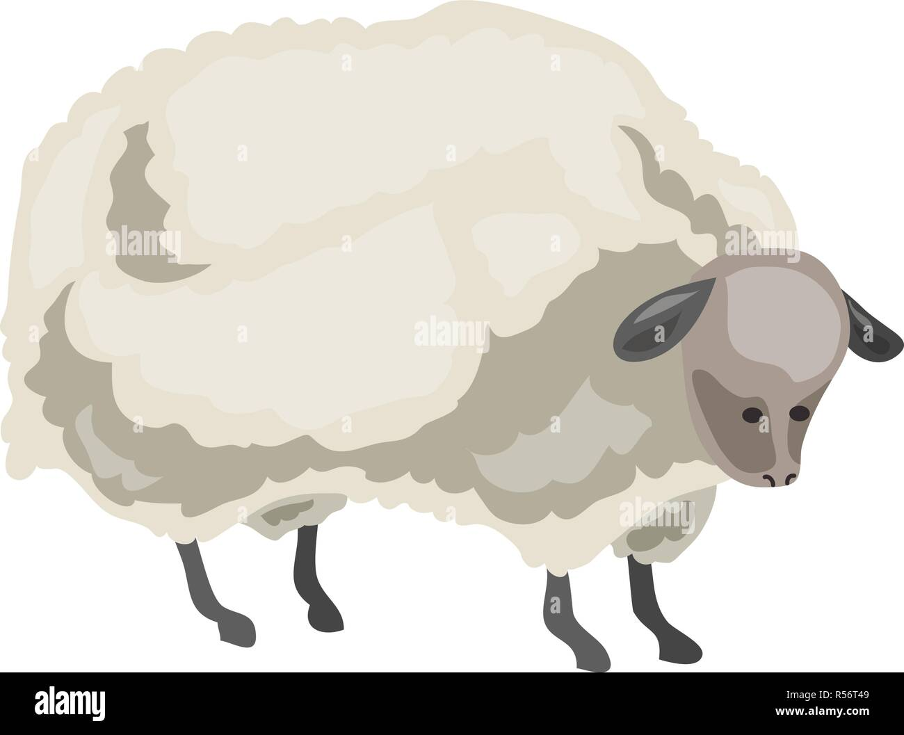 Sheep icon. Cartoon of sheep vector icon for web design isolated on white background - Stock Vector