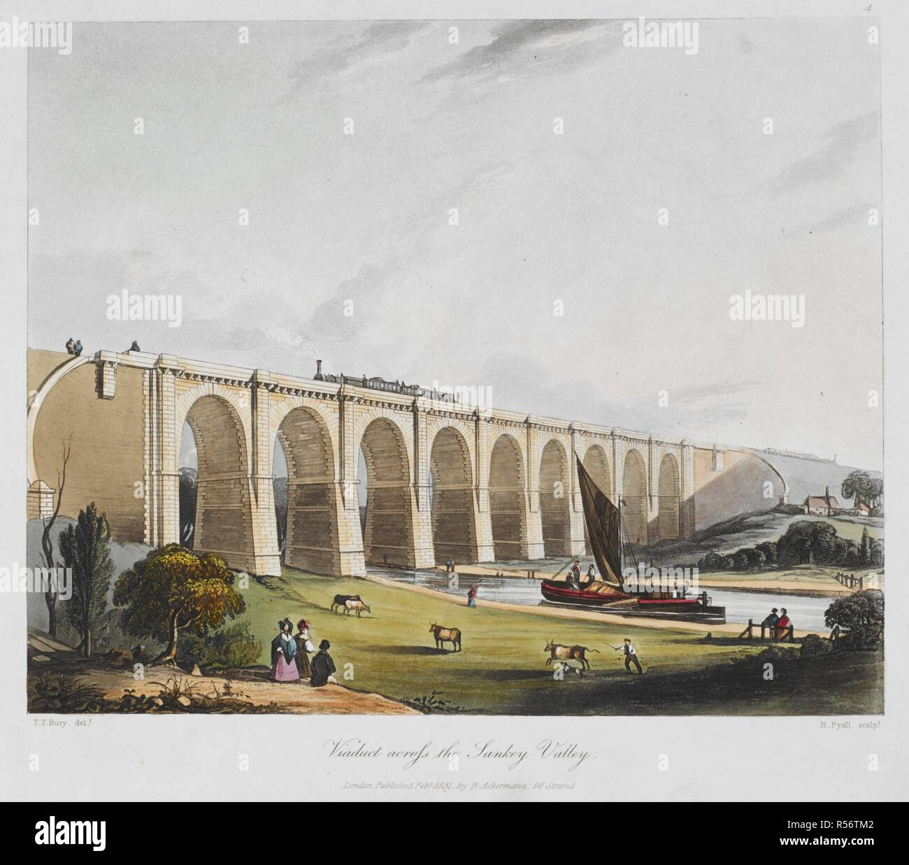 The viaduct across the Sankey Valley on the Liverpool to Manchester Railway. Coloured views on the Liverpool and Manchester railway : with plates of the coaches, machines, &c., from drawings made on the spot. London : R. Ackermann, 1831. Source: C.190.c.12, plate 4. Language: English. Stock Photo