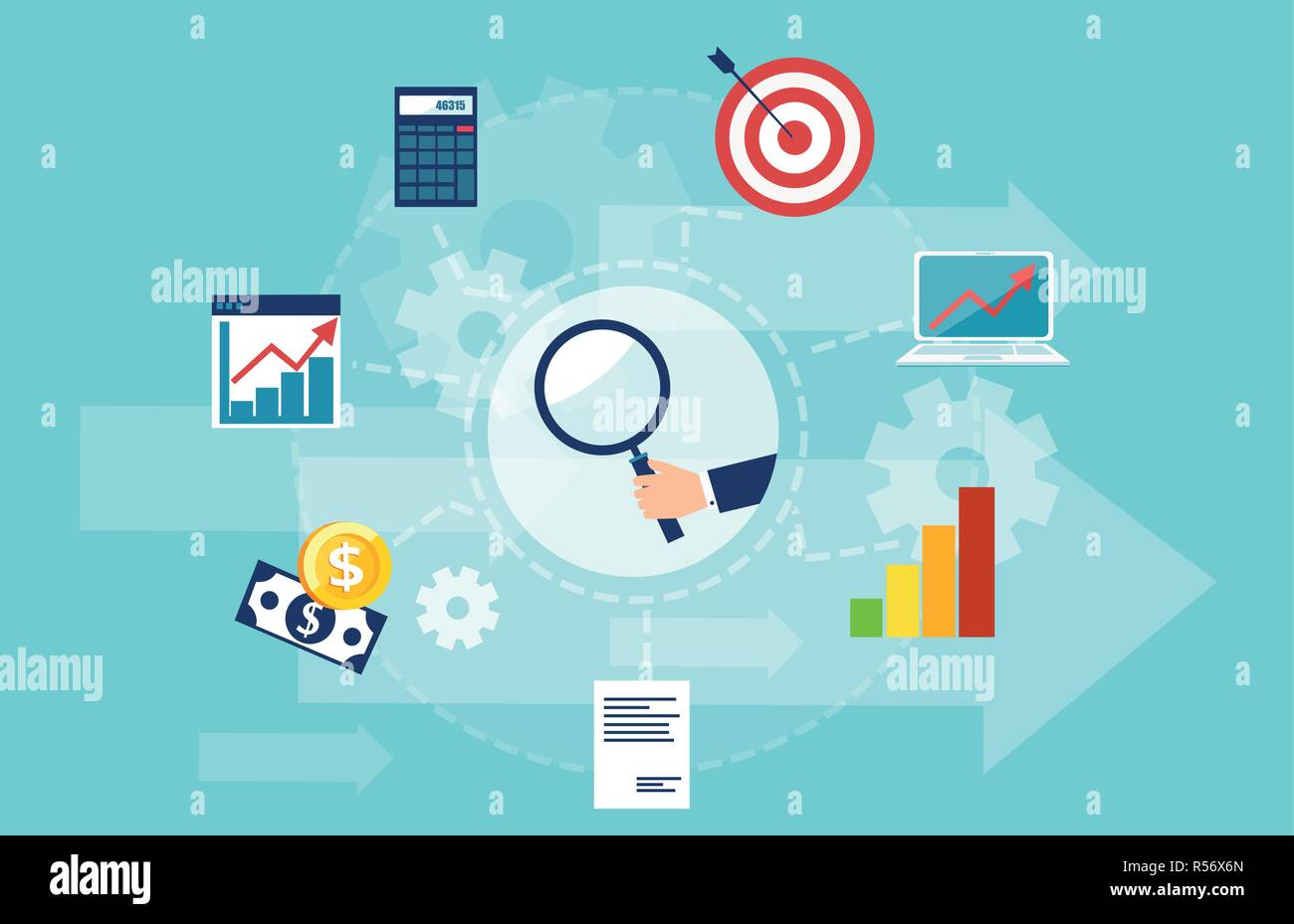 Business intelligence, business data analysis. concept. Vector banner of market research with icons isolated on light blue background Stock Vector