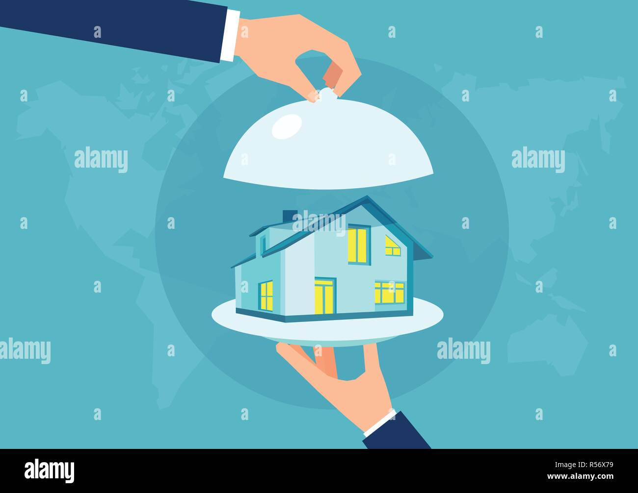 Vector of a hand holding a house model on a platter. Presenting a new home concept. Stock Vector