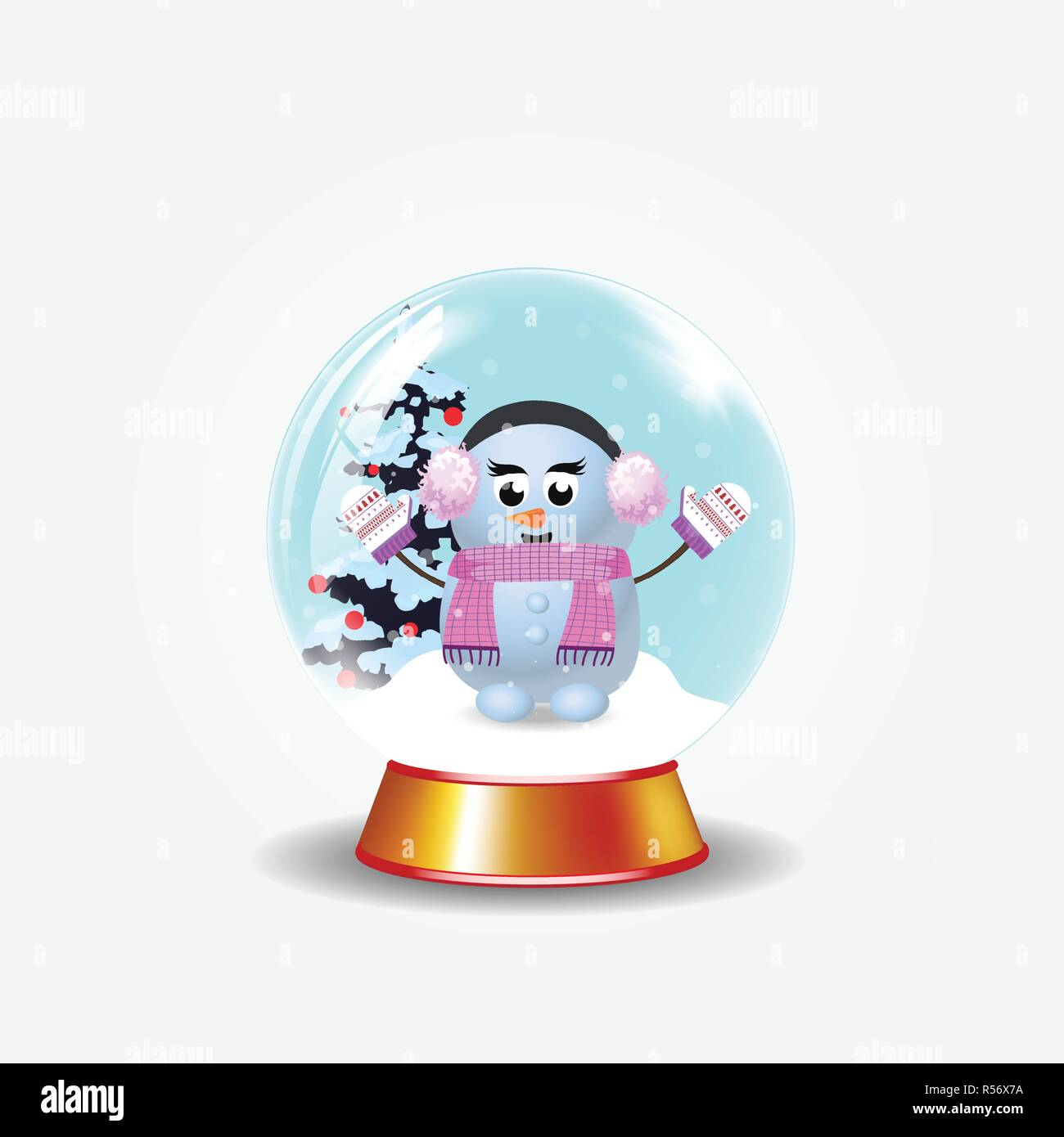 christmas new year crystal snow globe with cute snowman girl and fir tree isolated on white background vector cartoon illustration icon clip art
