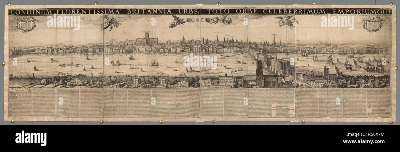 Panoramic view of part of the River Thames, known as the Visscher panorama. The map shows London as it would have been around the year 1600. The globe theatre can be seen in the foreground. LONDINUM FLORENTISSIMA BRITANNIAE URBS; TOTO ORBE CELEBERRIMUM EMPORIUMQUE. / C.J. Visscher Delineavit. AMSTELODAMI, : Ex officina IUDO HONDII sub signo Canis vigilis, Anno 1616. Source: Maps.C.5.a.6. Language: Latin. - Stock Image