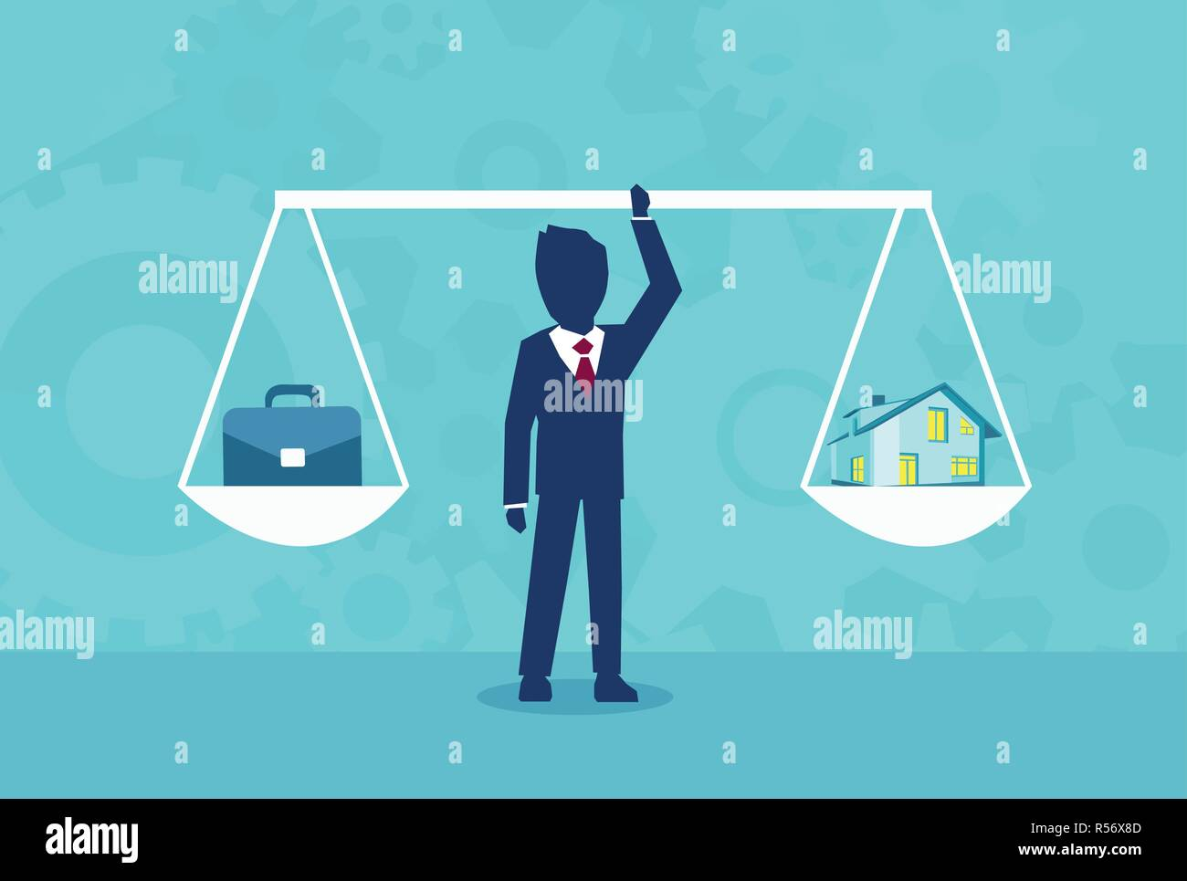 Graphic design of businessman holding scales with home and work in balance on blue background - Stock Image