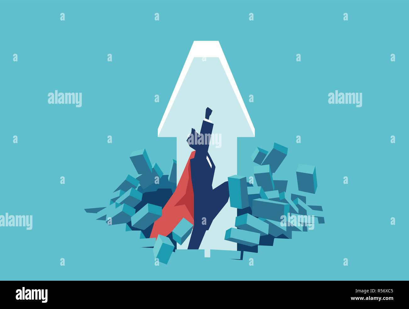 Flat design of man in red cape breaking obstacle and flying up being super hero - Stock Vector