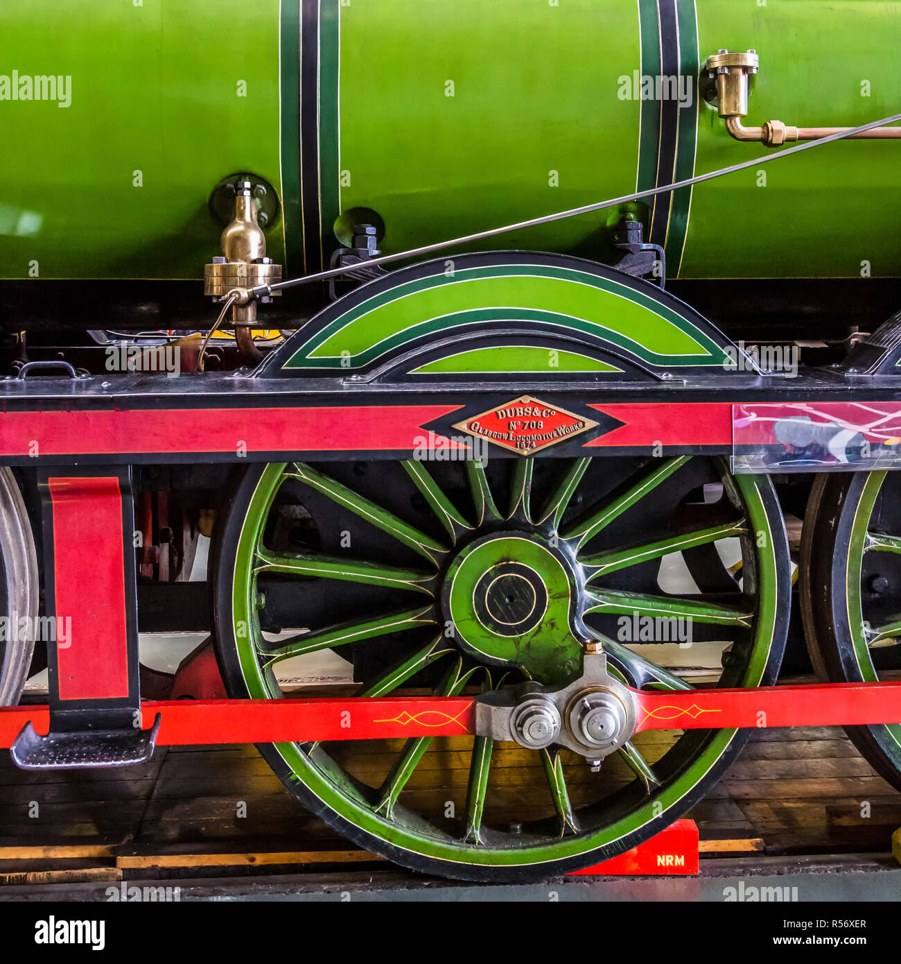 Early days of steam locomotives at National Railway Museum. Stock Photo