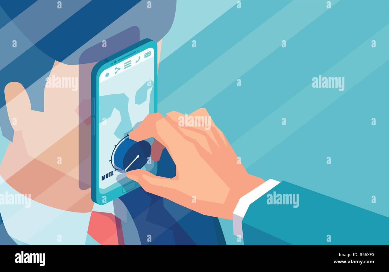 Concept design of crop politician muting volume of man in smartphone due to censorship - Stock Vector
