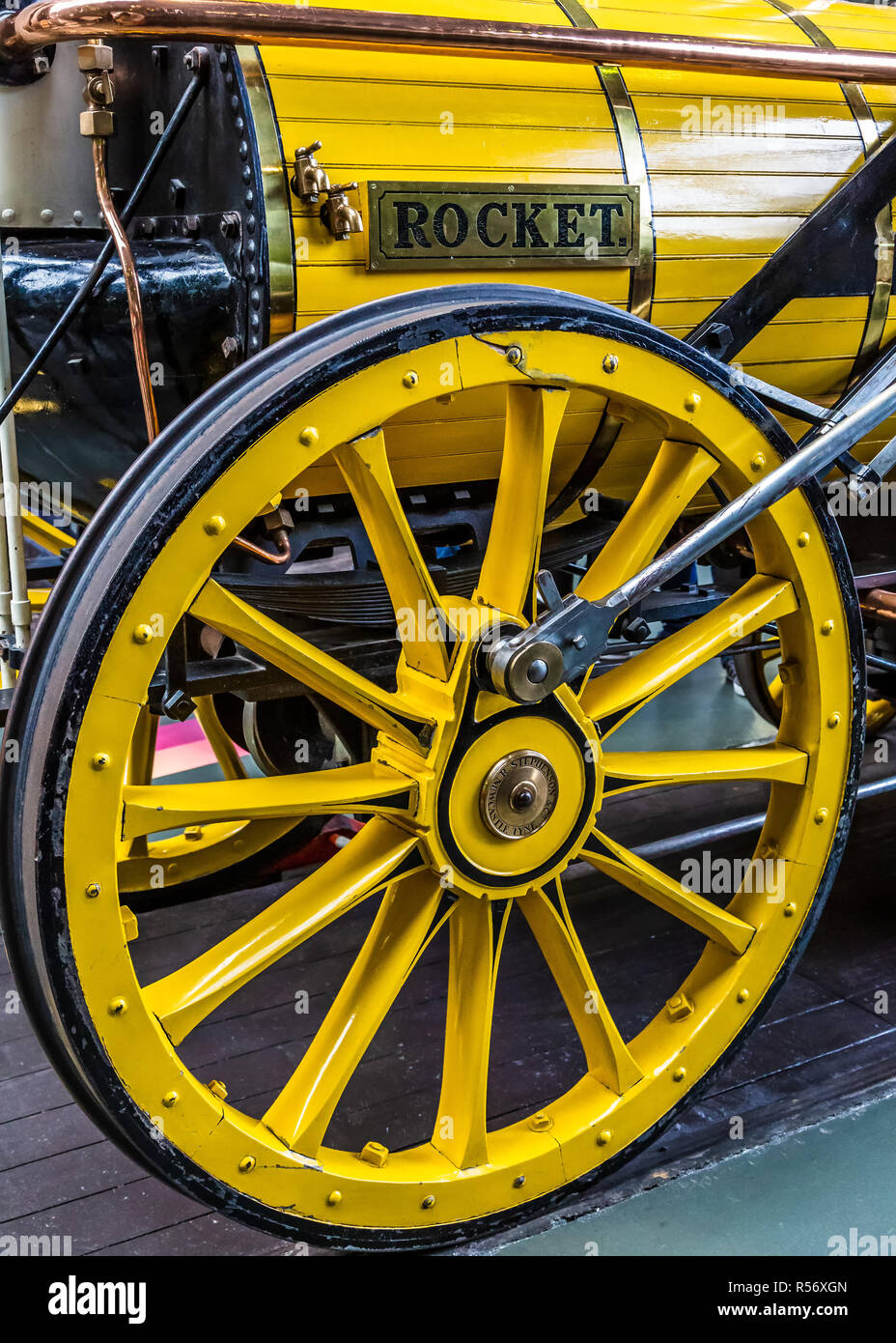 Early days of steam locomotives at National Railway Museum. - Stock Image