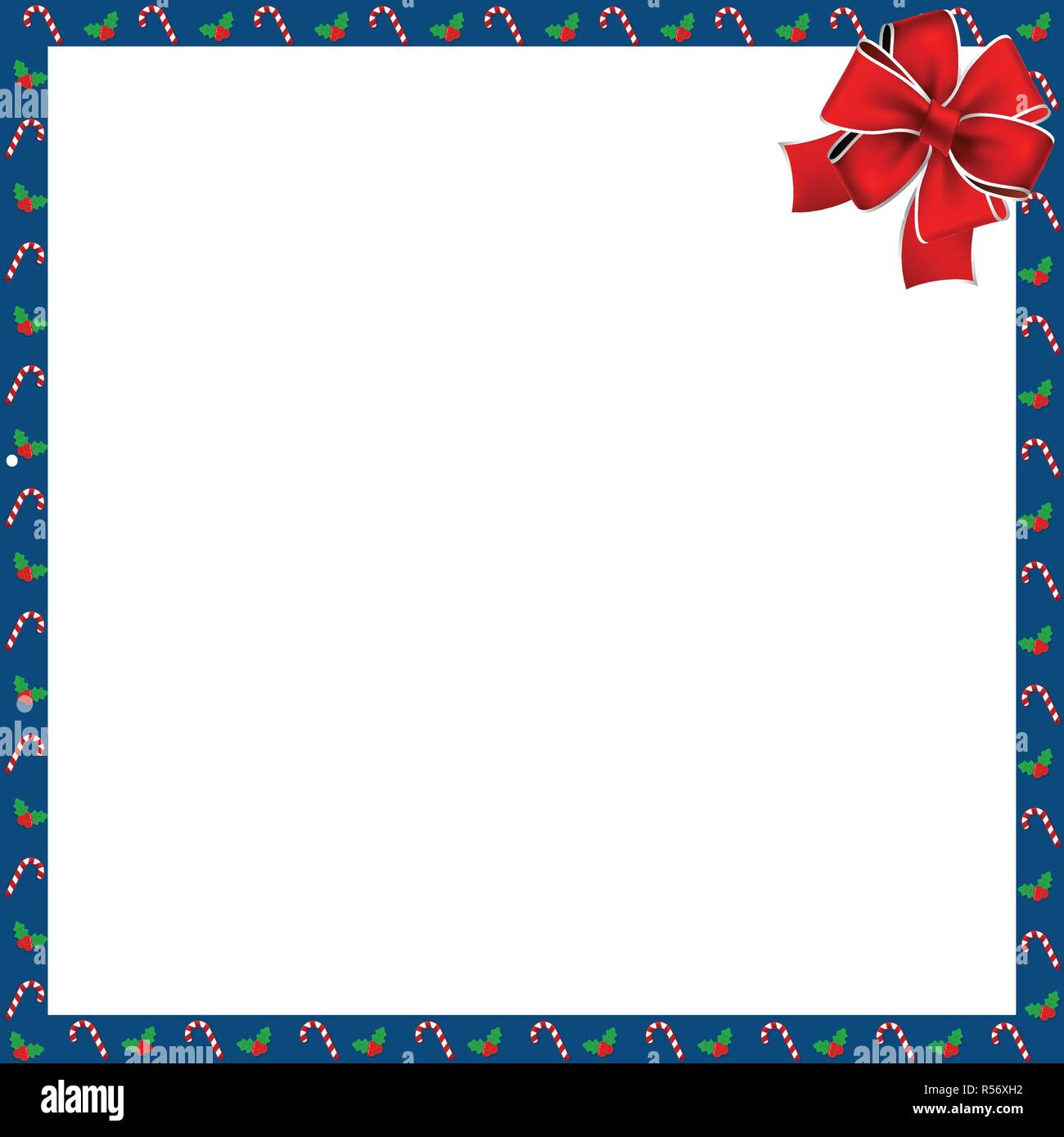 cute christmas or new year border with xmas candy cane and berries pattern and red festive bow on white background vector square template photo fram