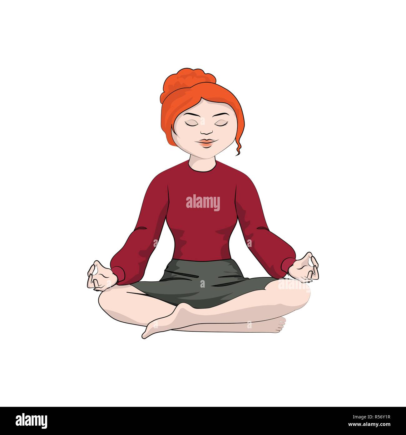 Businesswoman (girl, woman) sitting in a yoga pose. Vector color illustration - Stock Vector