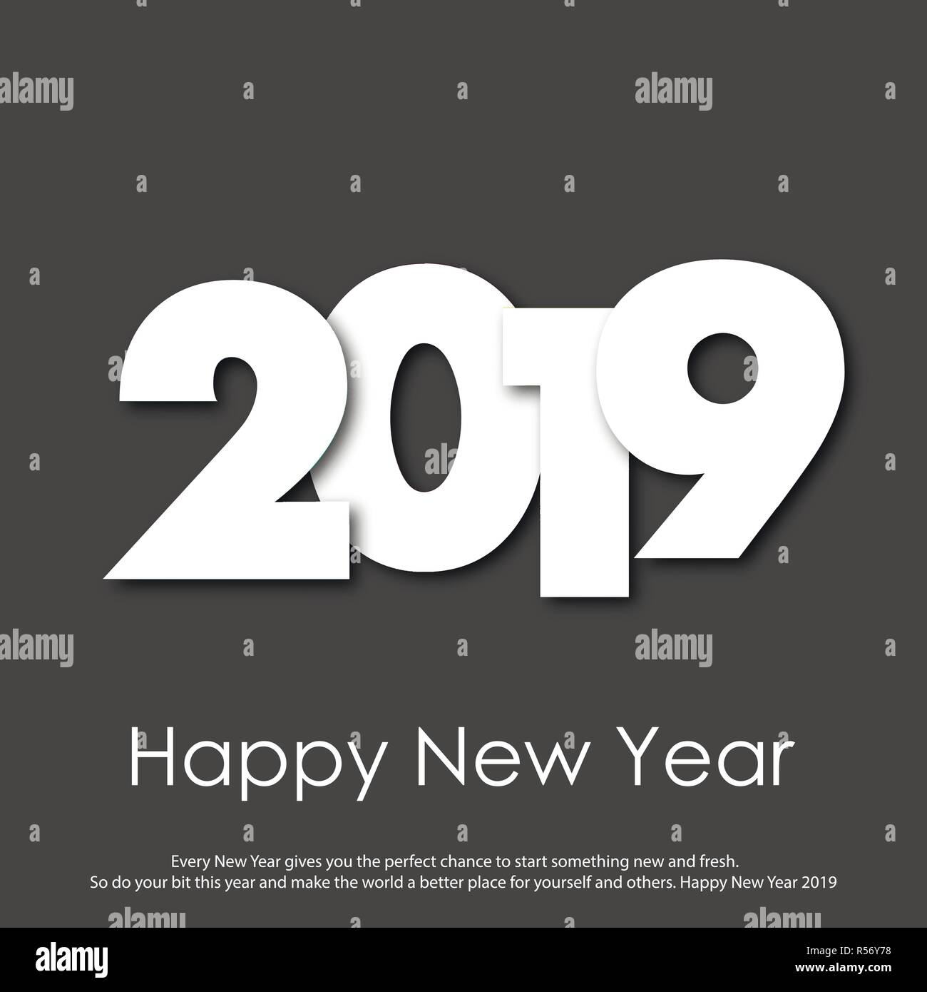 happy new year greeting card with modern text 2019 vector