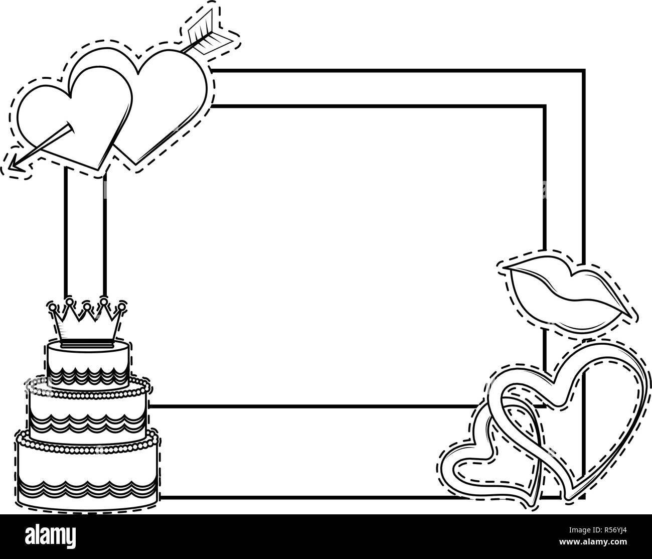Wedding booth prop photo frame black and white Stock Vector