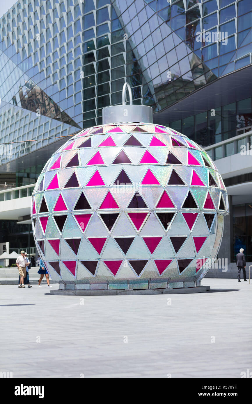 A giant Christmas decorative baubel in Darling Harbour, Sydney - Stock Image