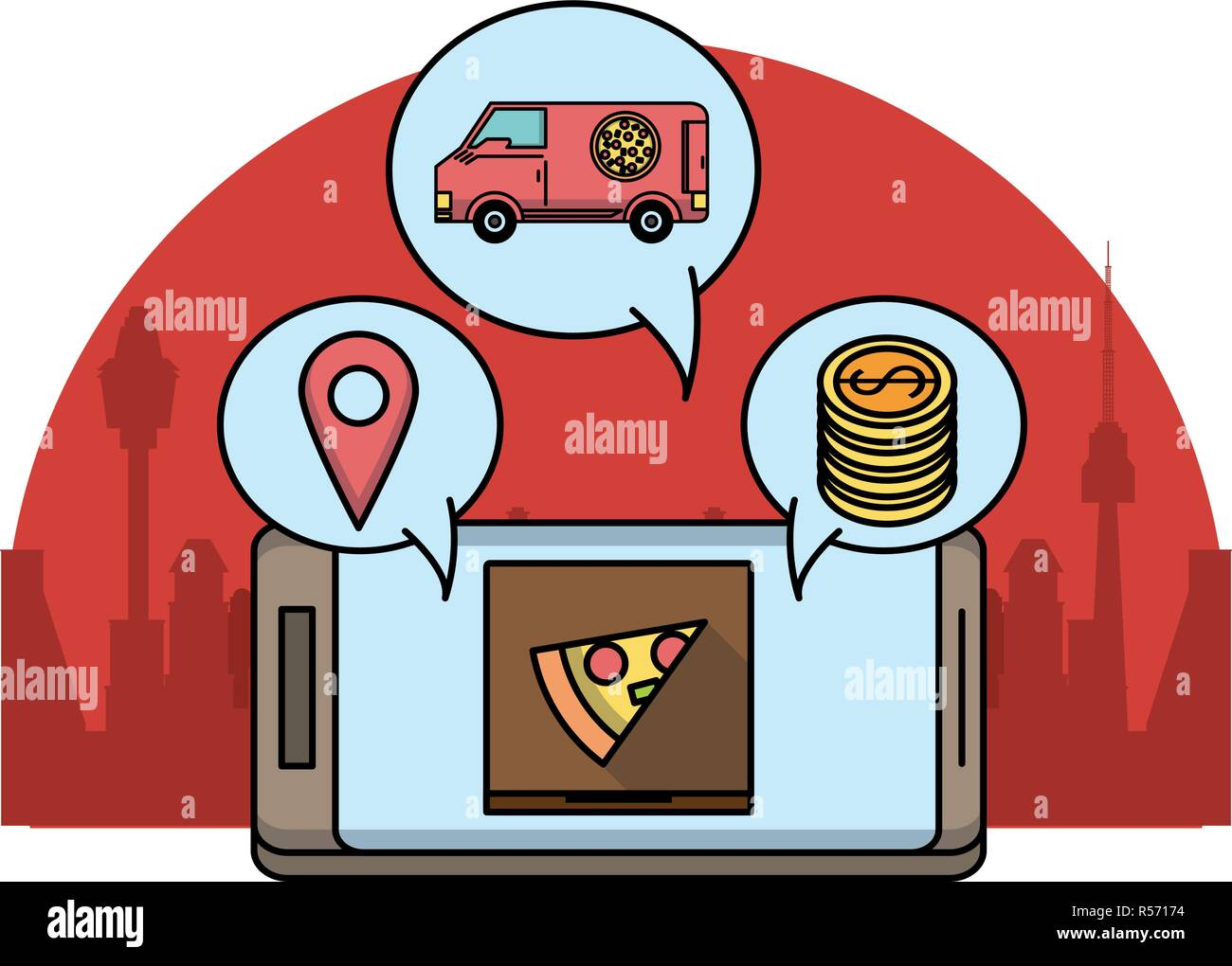Online food order and delivery Stock Vector Art