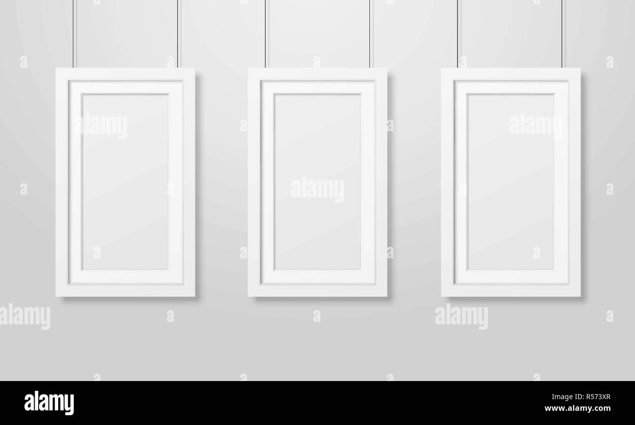 Three Vector Realistic Modern Interior White Blank Wooden Poster ...