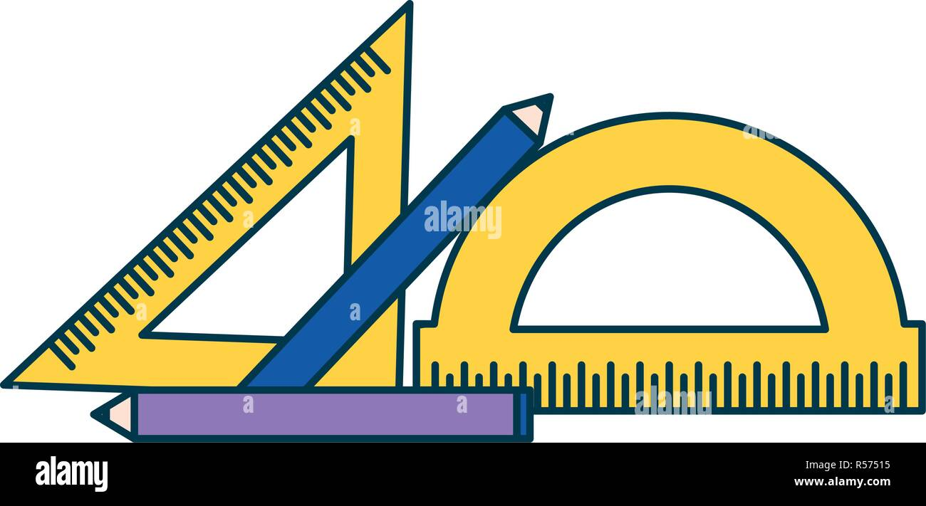 geometric rulers and pencils education supplies school vector illustration - Stock Vector