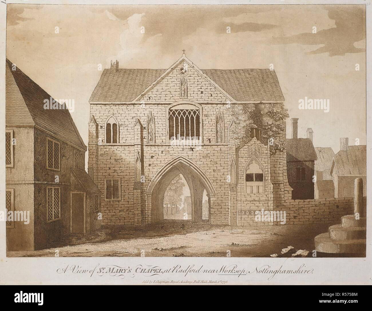 A view of St. Mary's Church at Radford near Worksop, Nottinghamshire. View of St. Mary's Church at Radford near Worksop. 1778. Source: Maps K.Top.33.36.c. Language: English. Stock Photo