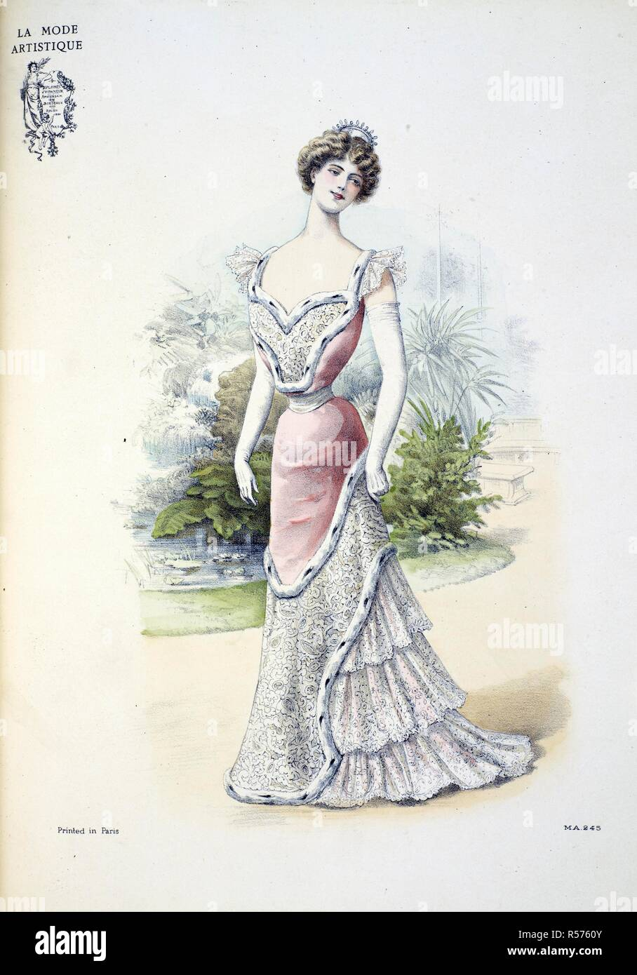 607411221ea86 Design by Doucet. 'This ball or dinner gown is made in soft rose satin