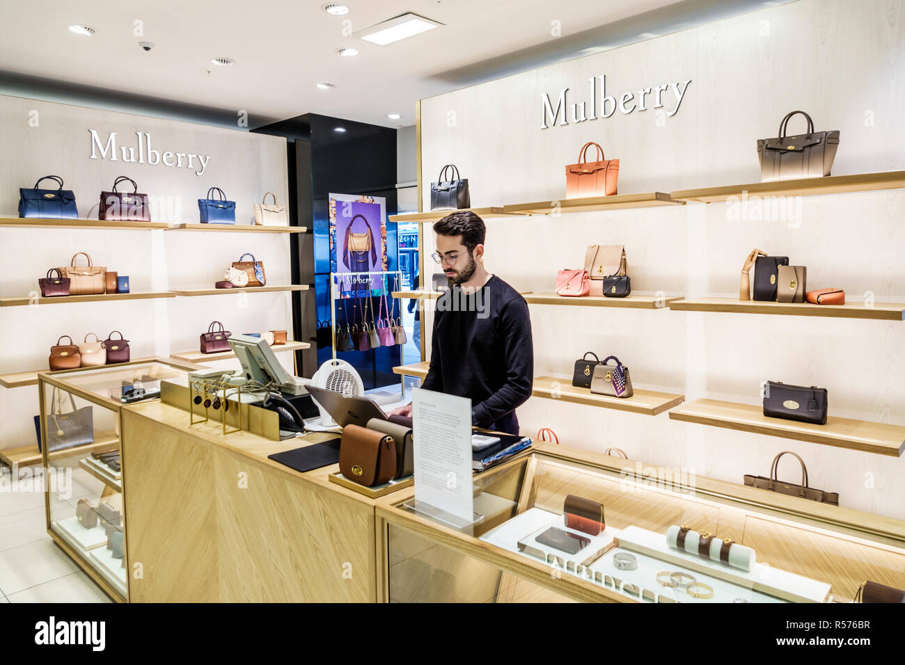 United Kingdom Great Britain England London Westminster Victoria House of Fraser shopping department store under bankruptcy administration handbags Mu - Stock Image
