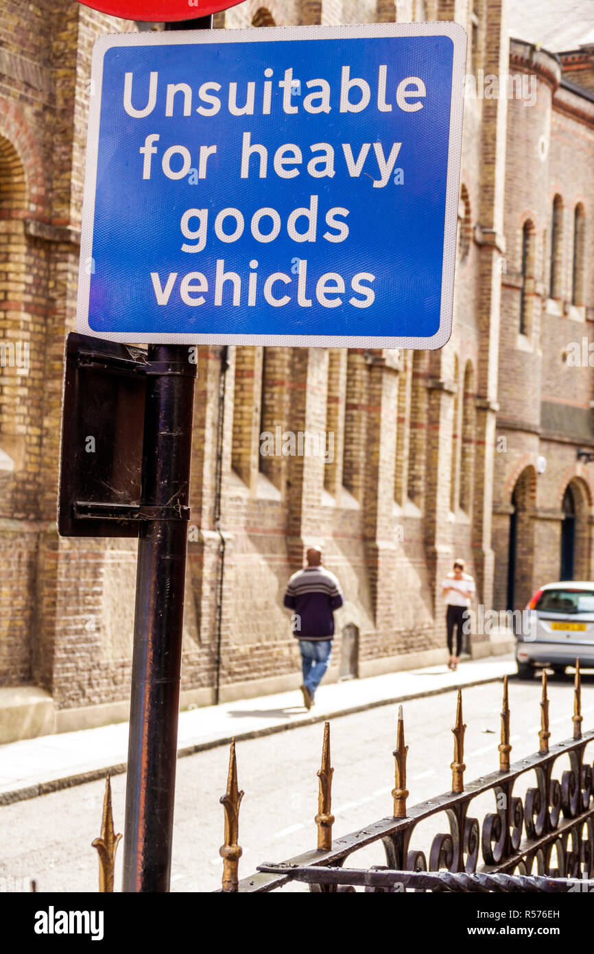 United Kingdom Great Britain England London Westminster Caxton Street traffic sign restricted access unsuitable for heavy goods vehicles - Stock Image