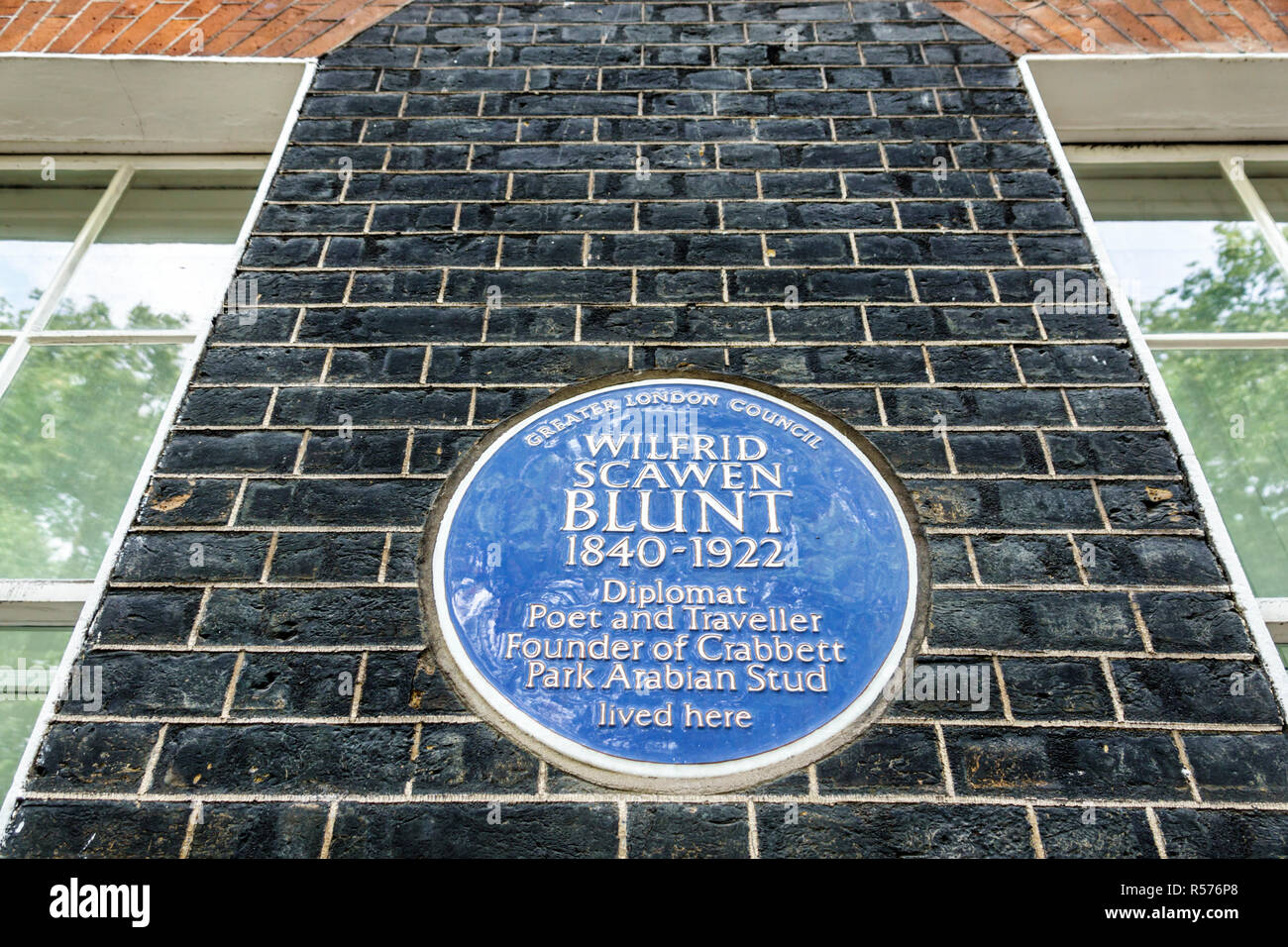 United Kingdom Great Britain England London Westminster Wilfrid Scawen Blunt blue plaque historical designation - Stock Image