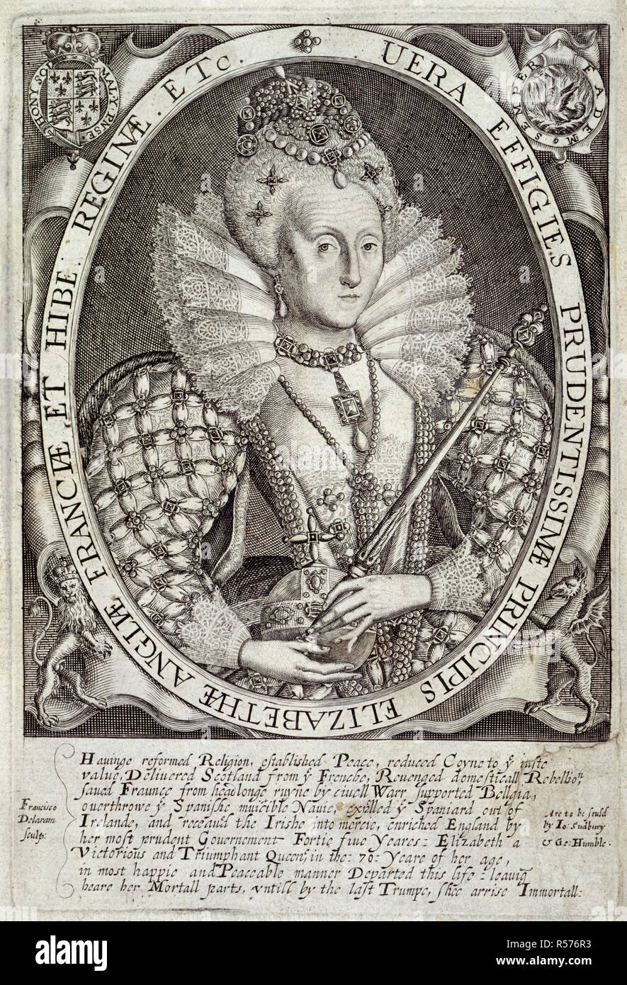 Elizabeth I. Bazili:logia, a Booke of Kings; beeing the true an. [London,] 1618. Elizabeth I (1533-1603). Queen of England and Ireland from 1558. Portrait.  Image taken from Bazili:logia, a Booke of Kings; beeing the true and likely Effigies of all our English Kings from the Conquest untill this present. With their severall Coats of Armes, Impreses and Devises graven in copper [by R. Elstracke and others], etc..  Originally published/produced in [London,] 1618. . Source: C.38.g.3,. - Stock Image