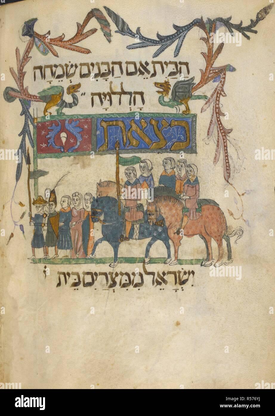The Israelites leaving Egypt. Barcelona Haggadah. Catalonia, 14th century. Vellum manuscript.   . Source: Add. 14761, f.66v. Language: Hebrew. - Stock Image