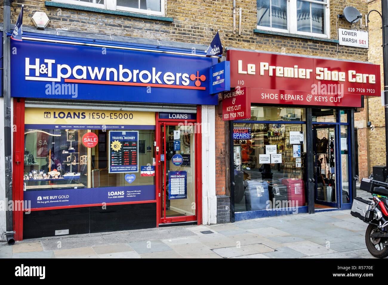 United Kingdom Great Britain England London Lambeth South Bank Lower Marsh neighborhood business store pawnbrokers shoe repair - Stock Image
