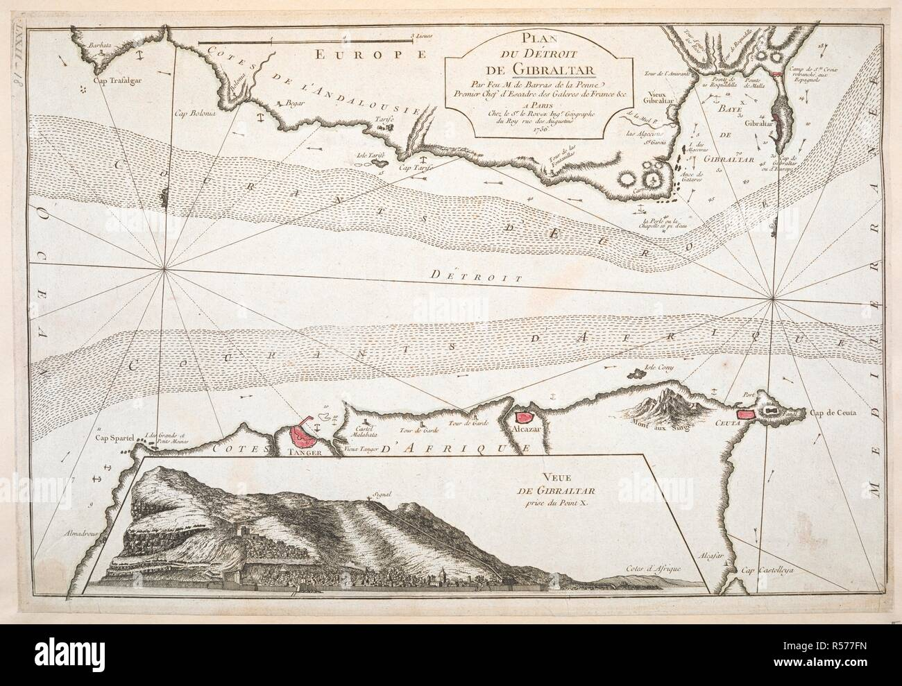 A Map Of The Strait Of Gibraltar With A View Of Gibraltar Plan Du