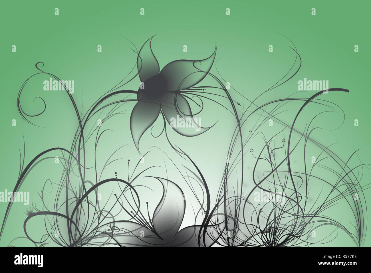 Beautiful illustrated flower background design with gradient - Stock Image