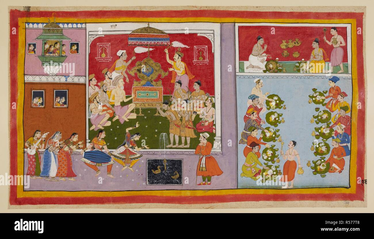 Through his magic powers, Bharadvāja has conjured up a palace set in a pleasure ground for the entertainment and refreshment of his guests. Bharadvāja and the other ascetics and Brahmins sit in the throne-room, while the two princes first sit beside the empty throne, allotted of course to the absent Rāma, and then take their leave. Two chowrie-bearers fan the throne, while apsarases dance and play musical instruments outside, and others look on from the windows. To the right, the two princes, in clean garments, take their meal together, eaten off gold dishes set on leaves, while the ministe - Stock Image
