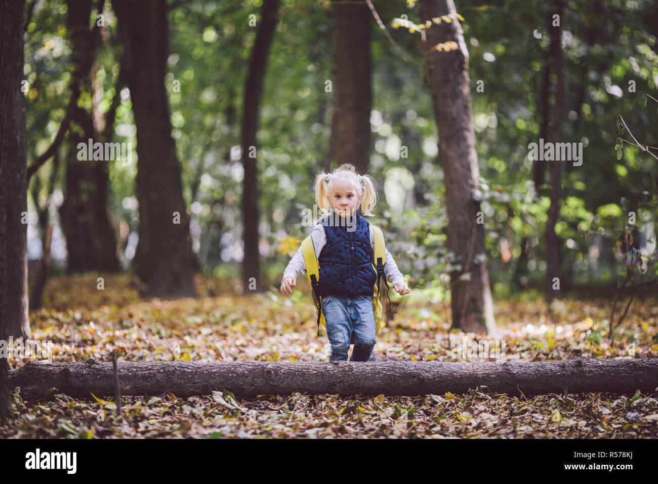 The theme children outdoor activities. Funny little baby Caucasian blond girl walks through forest overcoming obstacles, tree fell, log. Baby hiking big funny backpack in autumn forest park - Stock Image