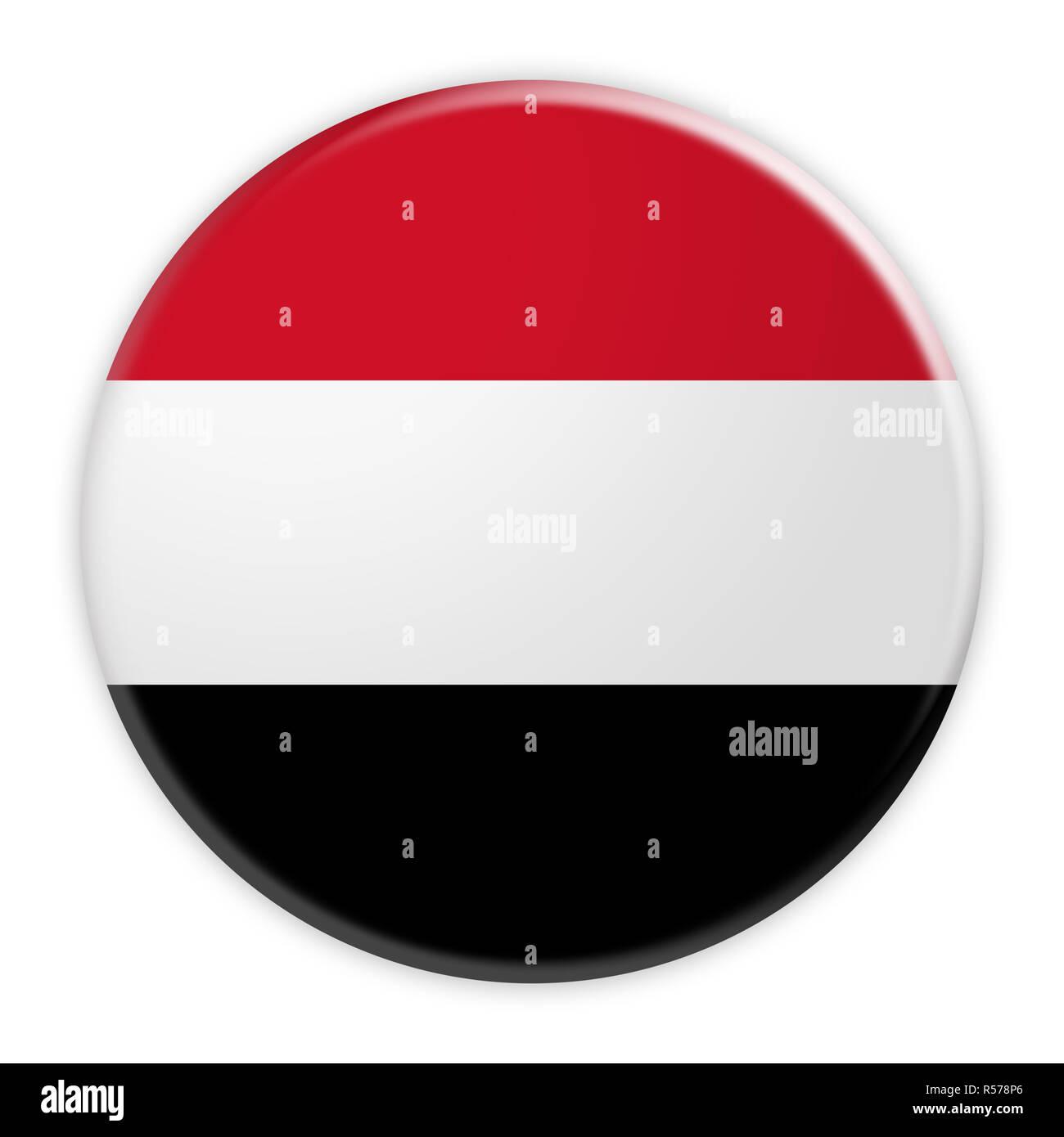 Yemen Flag Button, News Concept Badge, 3d illustration on white background Stock Photo