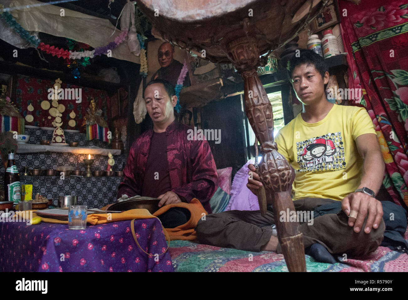 Tamang Heritage Trail, Nepal. Tibetan Buddhist ceremony Stock Photo