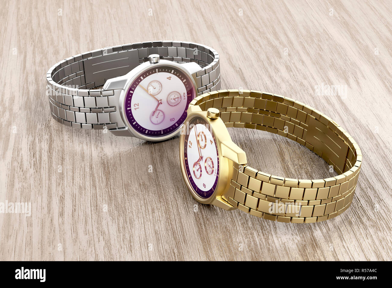 Gold and silver watches - Stock Image