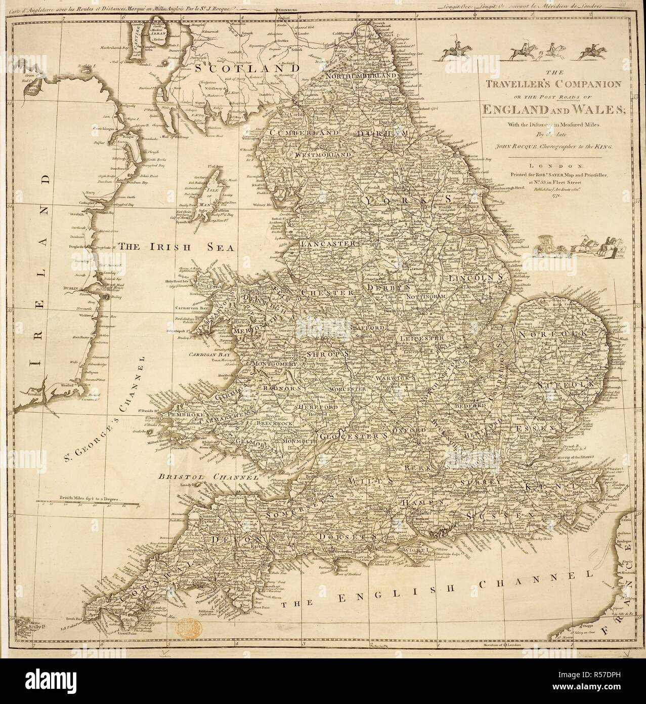 Map Of England Roads.A Map Of England And Wales The Traveller S Companion Or The Post