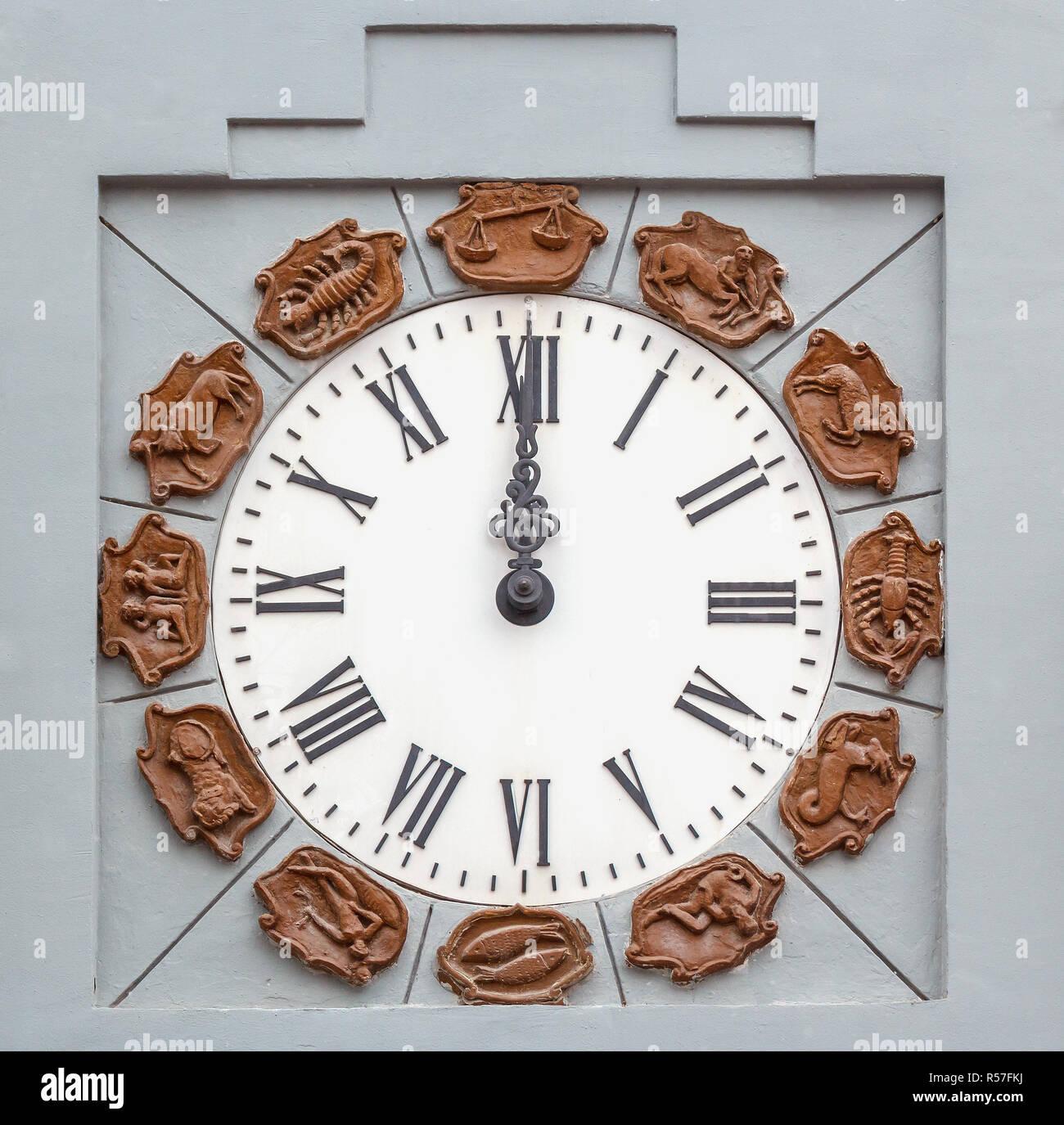 Twelve o'clock by  clock face - Stock Image