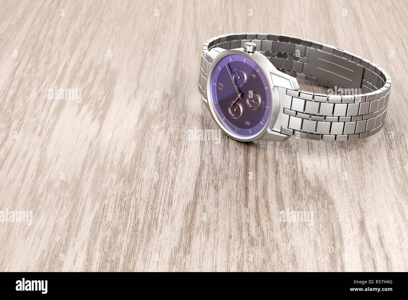 Silver wristwatch - Stock Image