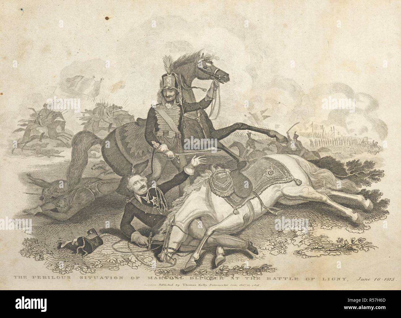 The perilous situation of Marshal Blucher at the Battle of Ligny, June 16, 1815. History of the French Revolution, and of the wars produced by that ... event ...; and the ... Battle of Waterloo. London : T. Kelly, 1820-22. Source: 9525.f.1 volume 2, plate opposite page 43. Author: CHRISTOPHER KELLY. - Stock Image