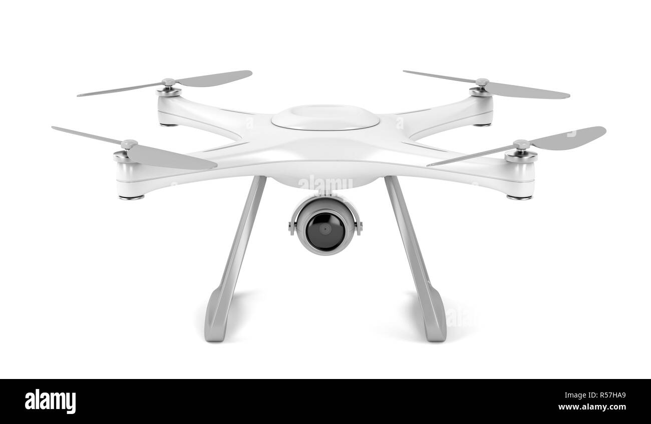 Drone on white background - Stock Image