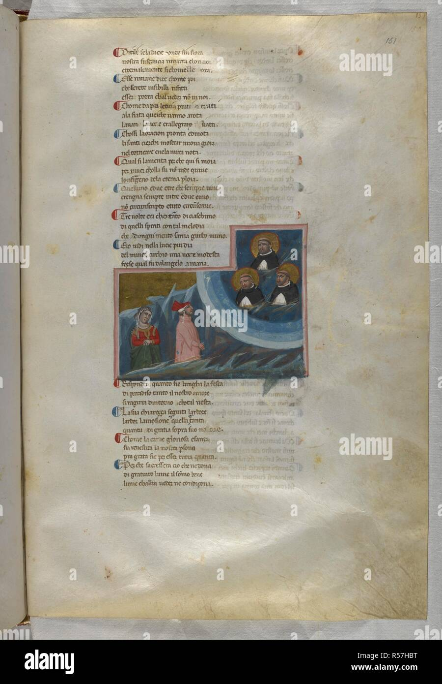 Paradiso : Dante addressing the souls of three Dominicans. Dante Alighieri, Divina Commedia ( The Divine Comedy ), with a commentary in Latin. 1st half of the 14th century. Source: Egerton 943, f.151. Language: Italian, Latin. - Stock Image