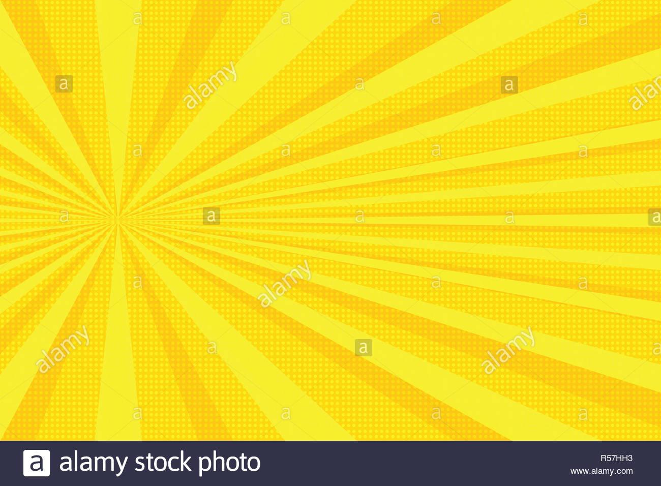yellow rays pop art background - Stock Image