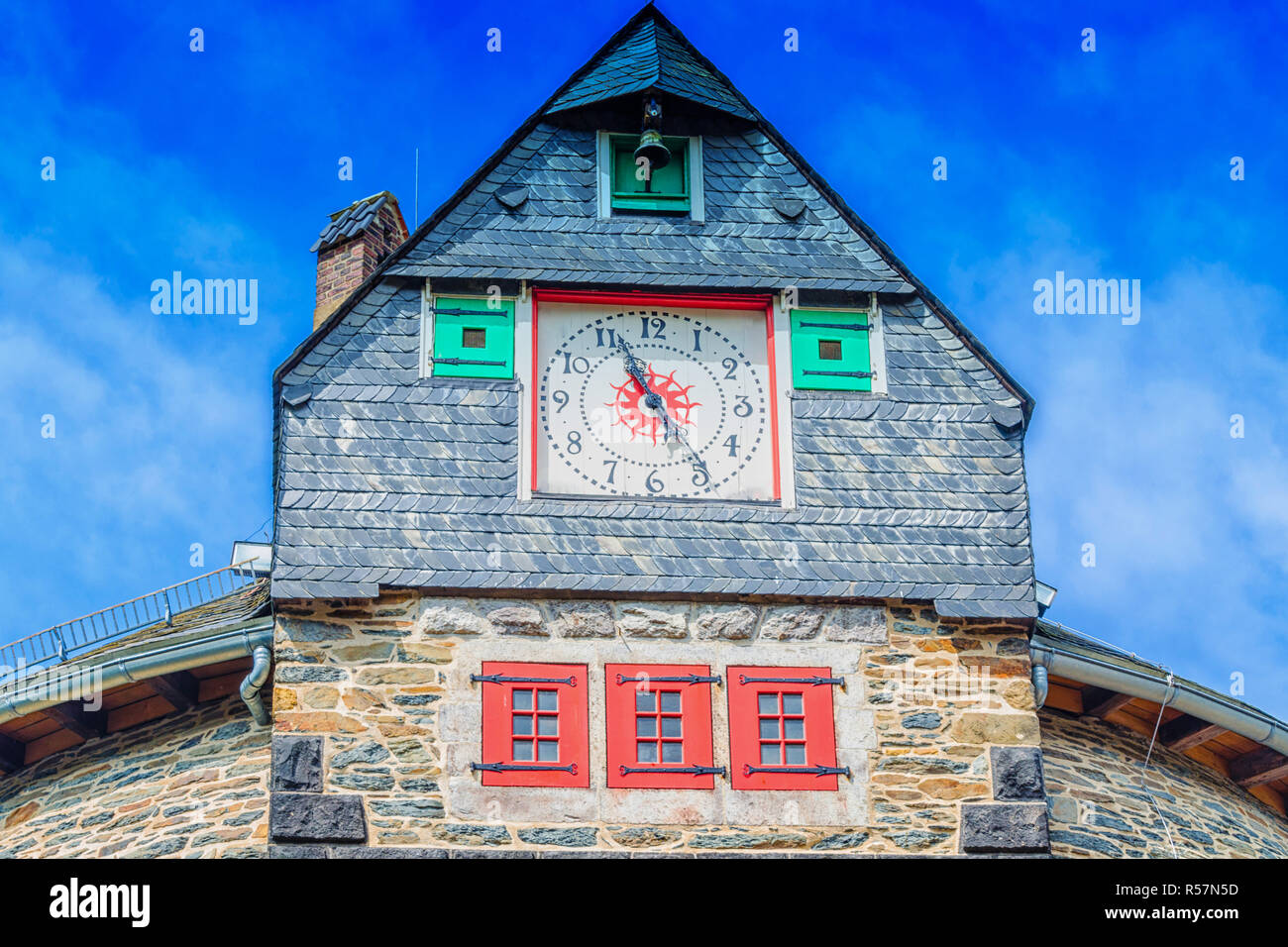 clock tower,house solingen castle - Stock Image