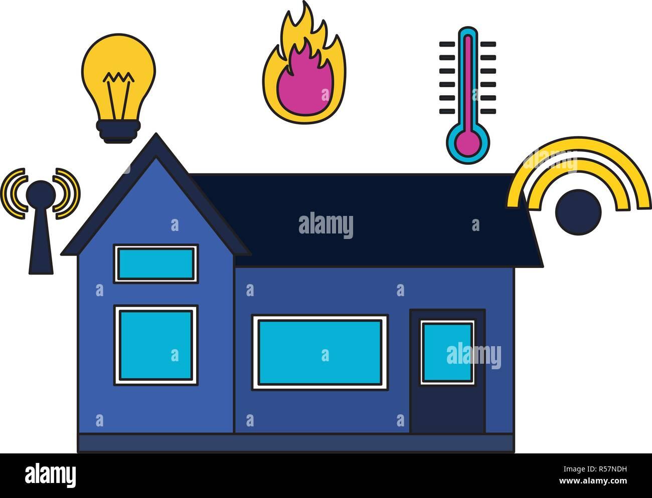 smart home smartphone monitoring control app vector