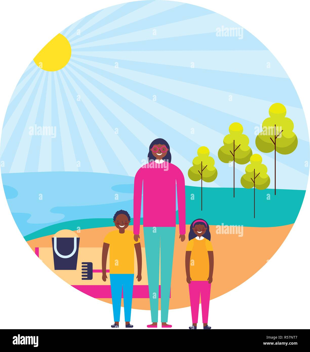 Happy Family Beach Stock Vector Images - Page 5 - Alamy