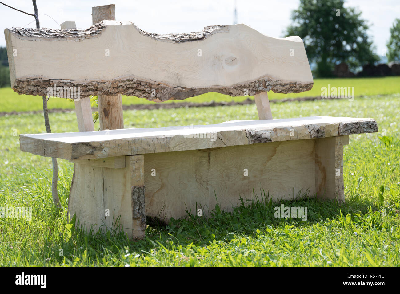 Remarkable Rustic Garden Bench Made Of Solid Wood Stock Photo Ncnpc Chair Design For Home Ncnpcorg