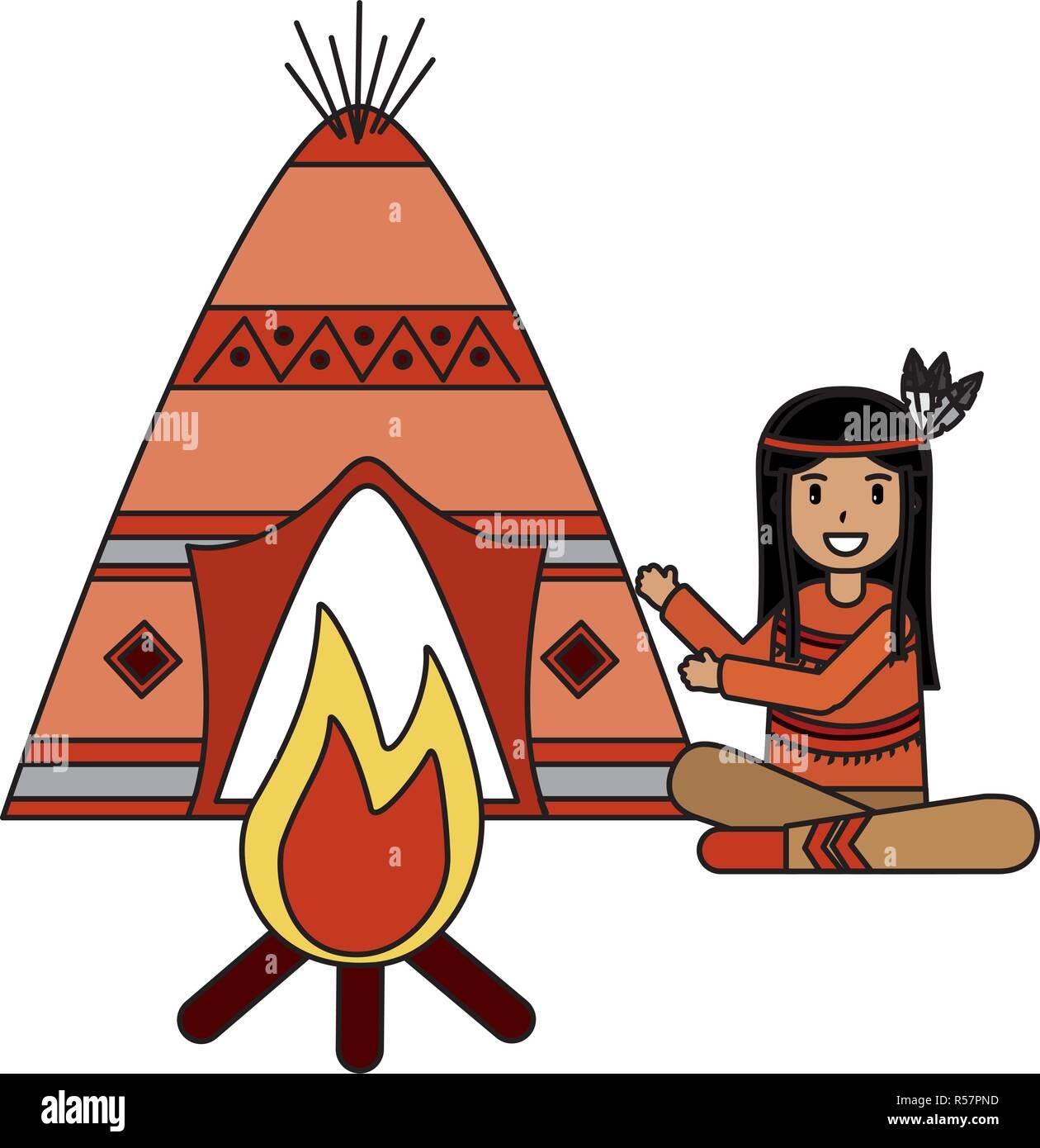 native american character - Stock Image
