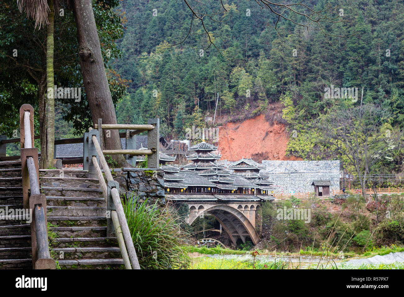 steps on Wind and Rain Bridge in Chengyang - Stock Image