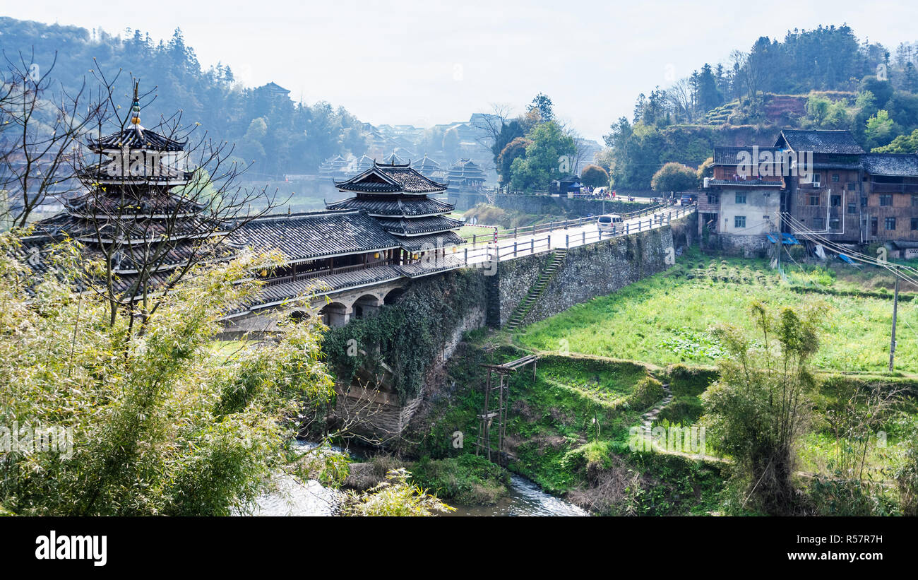 view of Fengyu Bridge and gardens in Chengyang - Stock Image