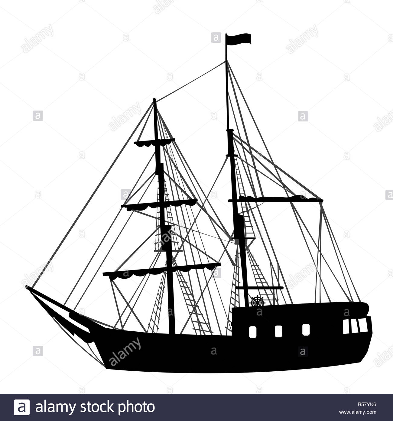 Silhouette of sailing ship on white background - Stock Image